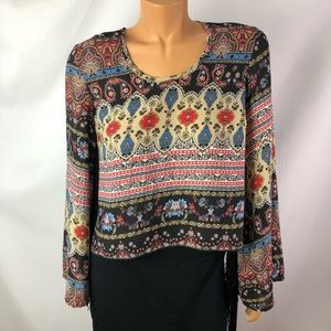 See You Monday floral blouse long sleeves fringe S